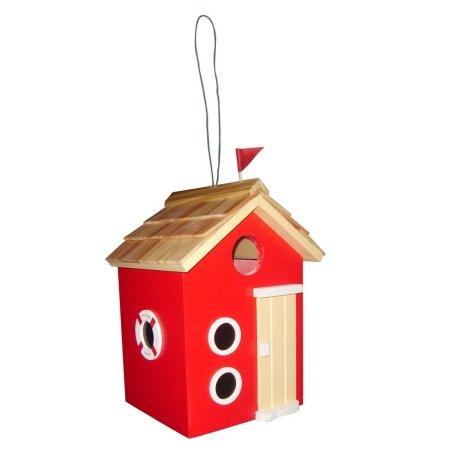 Home Bazaar HBD-2001S Beach Hut Birdhouse, Red