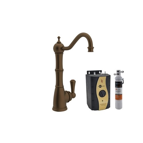 Rohl U.KIT1321L-EB-2 Kit Perrin & Rowe Kitchen Hot Water Dispenser with Single Lever and Column Spout Complete with Hot Water Tank and Filter, English Bronze by Rohl
