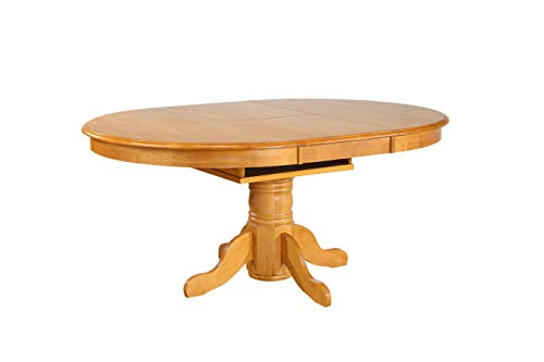 "Sunset Trading DLU-TBX-4266-LO-TB Pedestal Butterfly Leaf Table, 66"", Light Oak Finish"