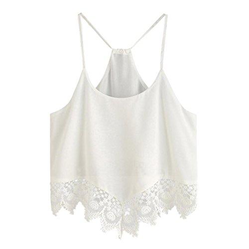Shirt For Women, jinjiu Halter White Loose Vest Lace Hem Summer Sweet Tank Crop Top (S) - Vintage Boy Scout Uniform Shirt