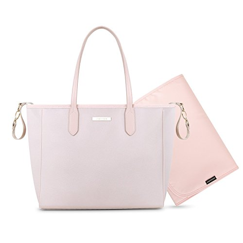 mommore Diaper Bag Large Totes Handbag with Changing Pad for Baby,Pink