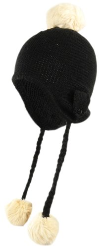 (American Rag Soft Knit Classic Black Trapper Hat with Ivory Pom Poms)
