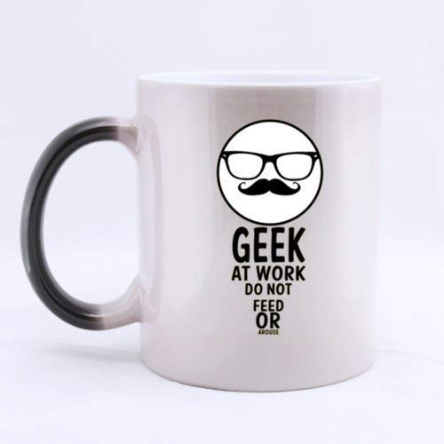 (Best Funny Geek at Work DO NOT Feed OR AROUSE Heat Color Changing Mug Magic Coffee Mug Ceramic/11 Oz Morphing Mug - Best Gift for Birthday,Christmas and New)