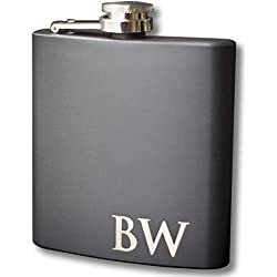 Custom Engraved Black Flask - Personalized with Any Text