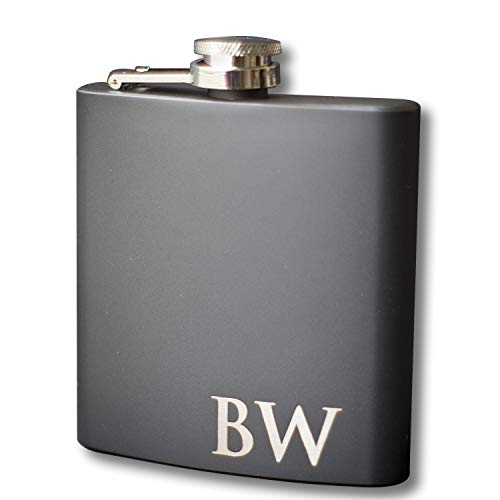 Custom Engraved Black Flask - Personalized with Any -