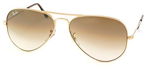 RAY BAN AVIATOR RB3025 Sunglasses - Gold/Brown Gradient 001/51 Medium - Ban Aviator Ray Sunglasses Brown