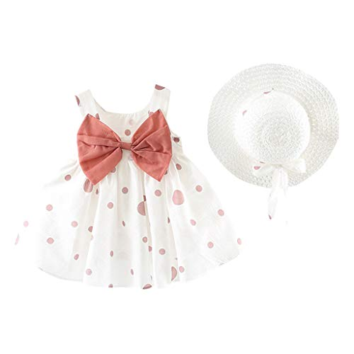 Baby Girls Dresses Toddler Casual Bowknot Sleeveless Polka Dot Swing Princess Dress (18-24 Months, Pink) ()