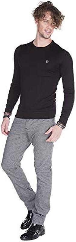 Cipo & Baxx męskie spodnie dżinsy Denim Slim-Fit-Men spodnie szare nakrapiane nowoczesne wzornictwo z 5 kieszeniami szare W33 L34: Odzież