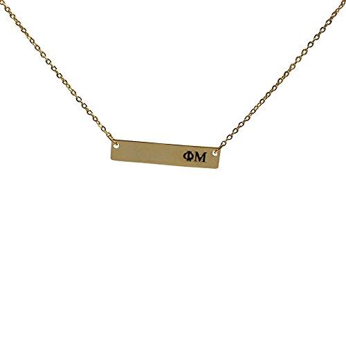 Phi Mu 24K Gold Plated Horizontal Bar Necklace Greek Sorority Letter with Adjustable (Phi Mu Jewelry)