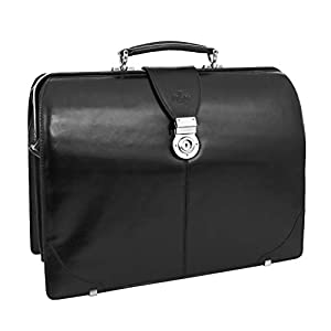 Leather Doctors Lawyers Briefcase Classic Bag Gladstone Case Canterbury Black