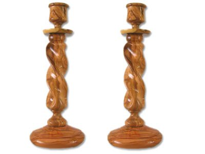 - Pair of Straight Solid Olive Wood Winding Candle Holders.