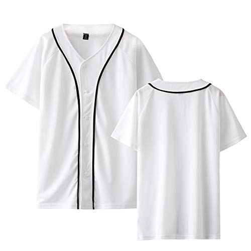 Percy Perry Men's Solid Front Button Closure Athletic Baseball Inspired Jersey Top White M