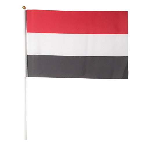 Yemen Polyester Country Flags Desk Outside Waving Parade 12-pack Hand or 12 inch x 18 inch Grommet (12-Pack Hand Flag)