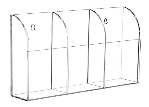 Organizador de almacenamiento de 3 compartimentos, de acrilico transparente, para montar en la pared, suministros de oficina, organizador, organizador de almacenamiento, contenedor de 3 compartimentos