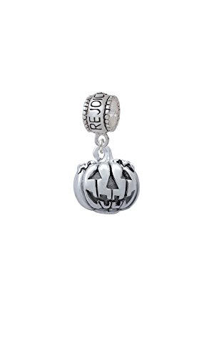 3-D Large Jack O' Lantern with Leaves - Rejoice Charm Bead