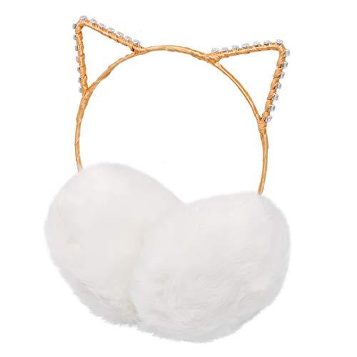 WSSROGY Faux Fur Earwarmer Cat Ears Earmuffs Adjustable Winter Faux Fur Outdoor Earmuffs for Women and Girls ()