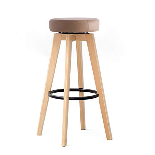 GYY Bar Chair Solid Wood Stools Home Simple Rotating Chair Bar Table Bar Chair Creative European Chair Load Bearing 200kg (Color : Brown, Size : B)