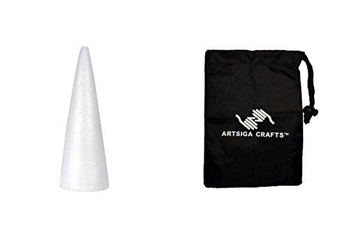 Darice Floral Design Durafoam Cone White 15in. (12 Pack) 01261P Bundle with 1 Artsiga Crafts Small Bag -
