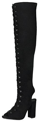 Refresh Footwear Myra-02 Women's Peep Toe Lace-Up Chunky Block Heel Over The Knee Boot,Black,8
