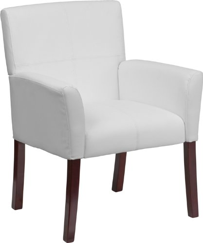 Flash Furniture White Leather Executive Side Reception Chair with Mahogany - Office Traditional Sofa