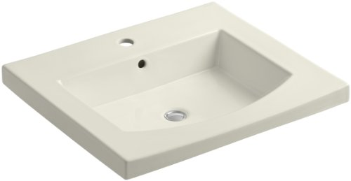 KOHLER K-2956-1-96 Persuade Curv Top and Basin Bathroom Sink with Single-Hole Faucet Drilling, Biscuit