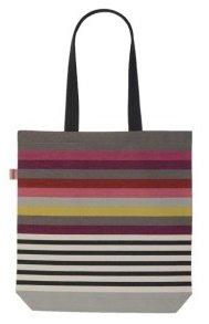 Artiga–Borsa a spalla–appariscente lilla, grigio, bianco e giallo a strisce borsa di tela in 100% cotone