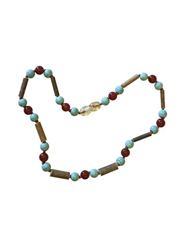 Carnelian + Turquoise + Hazelwood Baby and Toddler Necklace. Colic, Reflux and Teething. Individually knotted.