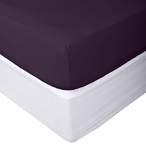Clara Clark Premier 1800 Collection Single Fitted Sheet, King, Eggplant Purple (King Cotton Fitted Sheet)