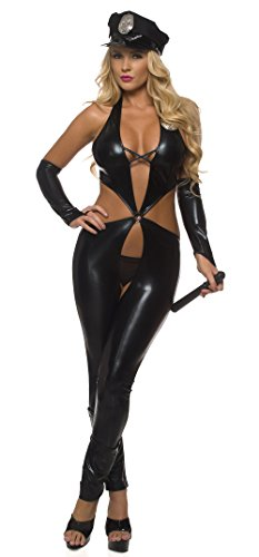 Officer Jumpsuit (Sexy Slick Black Jumpsuit Mrs. Officer Costume Role Play Uniform (Large, Black))