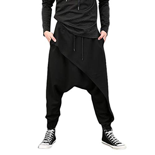 Allywit Men's Casual Harem Pants Irregular Hem Loose Solid Color Capri Hip Hop Trousers Black ()