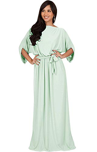 KOH KOH Womens Long Flowy Casual Short Half Sleeve with Sleeves Fall Winter Floor Length Evening Modest A-line Formal Maternity Gown Gowns Maxi Dress Dresses, Light Pale Green M 8-10 ()