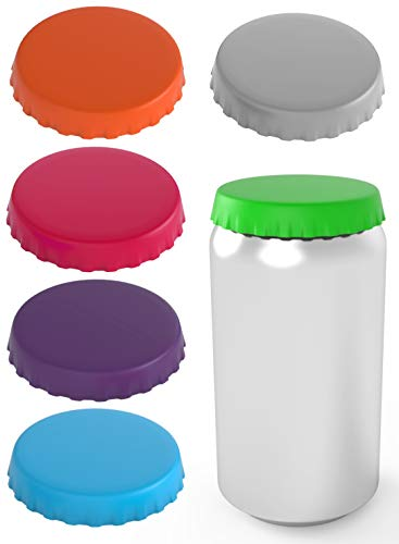 Silicone Soda Can Lids 6 pack - Shield your coke, beer, and pop cans from flies, bees, and dust! - Spill saver - lid fits standard coke cans - Perfect for the beach, golf, camping, fishing