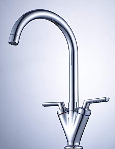 Xcel Home HB0017 HB10017 Swan Dual Lever Kitchen Sink Mixer Taps Monobloc 360 Degrees Swivel Spout Chrome with Hoses Standard Fittings, - Kitchen Monobloc Mixer