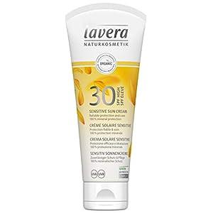 Lavera Crème Solaire Sensitive Lsf 30 100% Protection Minérale Vegan Cosmétiques Naturels Ingrédients Végétaux Bio 100% Naturel (100ml)