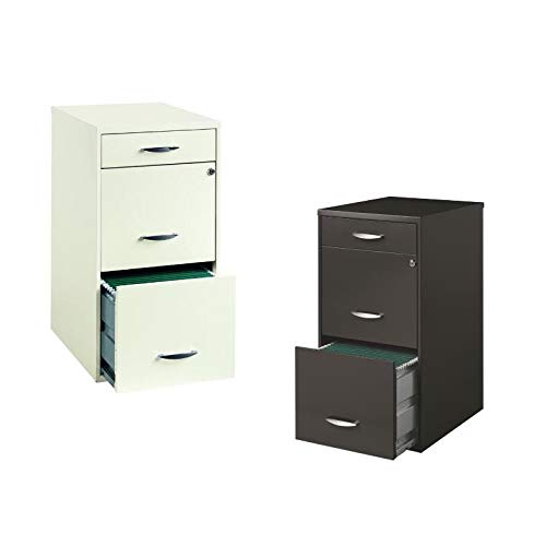 Value Pack (Set of 2) 3 Drawer File Cabinet in Charcoal and White by Home Square