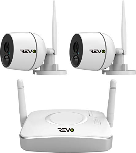 Revo America RWG41BNDL-1 4 Ch. Wireless Gateway Security System, 32GB Micro SD Card & 2 X 1080P Audio Capable Bullet Cameras, Built-in PIR - Remote Access via Smart Phone, Tablet ()