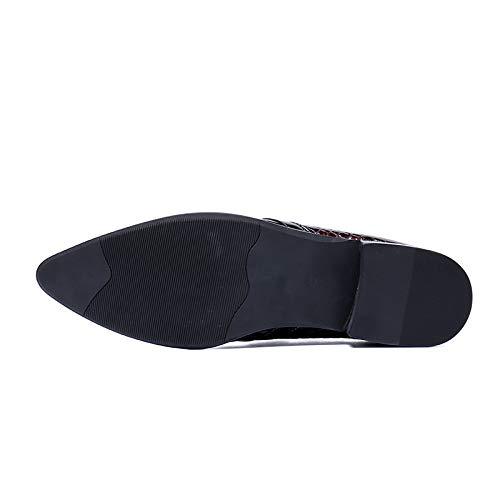 Glisse Pointu Shoes Pour Oxford Red Vintage Pantoufle Mariage Hommes Cuir Sur Homme Bout Mocassin Paresseux Qzx Fumer Loafers Chaussures De 8dxqWPP