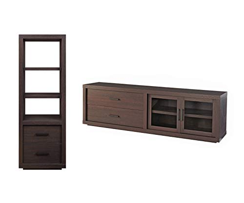 Better Homes & Gardens Steele TV Stand, Espresso Finish bundle with Better Homes & Gardens Steele Audio/Visual Tower, Espresso