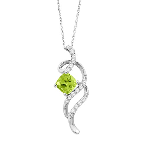 Swirl Necklace (1 1/5 ct Natural Peridot & White Topaz Swirl Pendant Necklace in Sterling Silver)