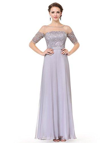 Ever Pretty Robe de soiree longue en demi-manches et le col en lace translucide 36 Gris EP08459GY04