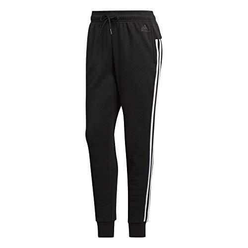 adidas Womens Athletics Essential Cotton Fleece 3-Stripe Jogger Pants, Black/White, Medium