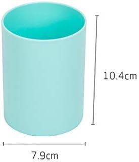 MoGist Portapenne Semplice tinta unita cilindrico portapenna in plastica Portaspazzole per trucco Portapenne di cancelleria Blu chiaro