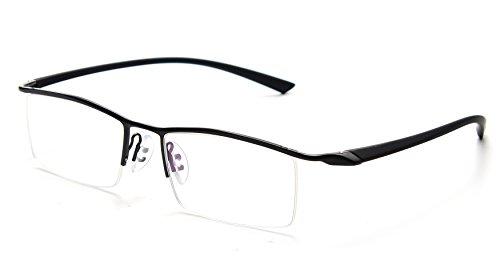 Titanium Semi Rimless Eyeglasses - JNS Titanium Semi-rimless Eyeglasses Business Optical Frame Clear Lens