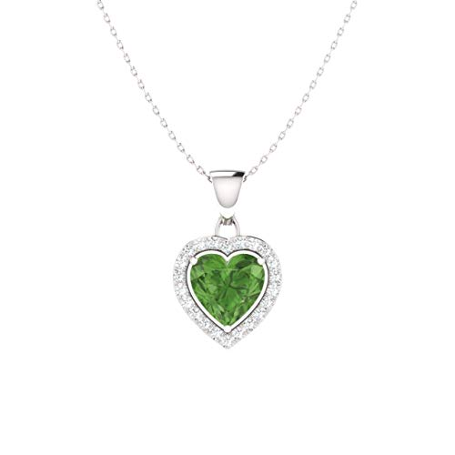 Natural Sapphire Green (Diamondere Natural and Certified Green Sapphire and Diamond Heart Petite Necklace in 14k White Gold | 0.68 Carat Pendant with Chain)