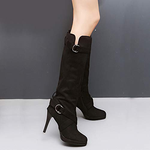 Knee Boots Martin Casual Inside Thin Familizo Solid Ladies Shoes New Long Roman Shoes Women Women Flock Platform Heels Black Buckle Outside for Heels High Rome TnwafqxZH