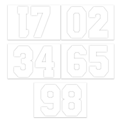 (RUSPEPA 8 Inch Number Transfers for Sport T-Shirt,White(1 Sheet))