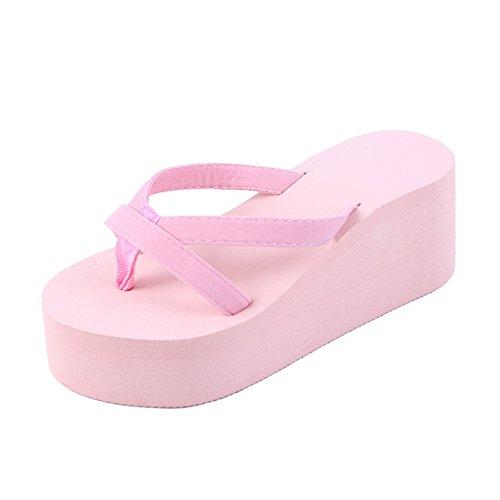 Slip Beach Thong Slippers Skid Girls Sandals Flops Wedges T Women's Pink Non JULY Summer Heel for Platform Flip XSw6np7xaq