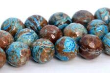 8MM Natural Blue Green Crazy Lace Agate Beads AAA Micro Faceted Round Bead 15.5