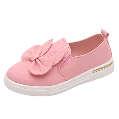 (Girls Causal Slip On Trainers for 4-12 Years,Baby Sweet Bow Flat Princess Shoes Evening Prom Sandals Sports Sneakers Pink)