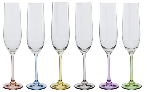 David Shaw BC180-190 Bohemia Rainbow Flute, Set of 6, 190ml 6.75 oz, Assorted Colors